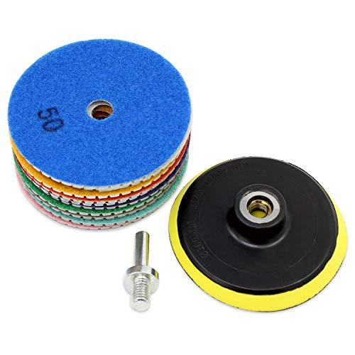 Aussel Diamond Polishing Pad 4 pulgadas húmedo de pulido de rueda conjunto de piedra de hormigón de cerámica de cerámica 11 Piezas