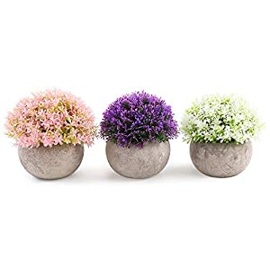 Mini Artificial Plants Flowers Set of 3 for Home Decorations,Plastic Fake Plants Topiary Shrubs with Gray Pot