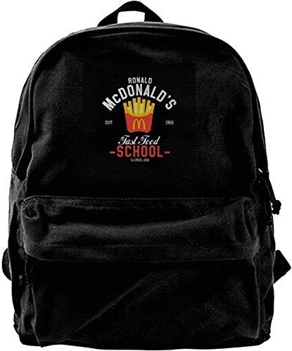 shenguang Mochila de lona Ronald McDonalds Mochila escolar de comida rápida Gimnasio Senderismo Bolsa de hombro para portátil Mochila para hombres Mujeres