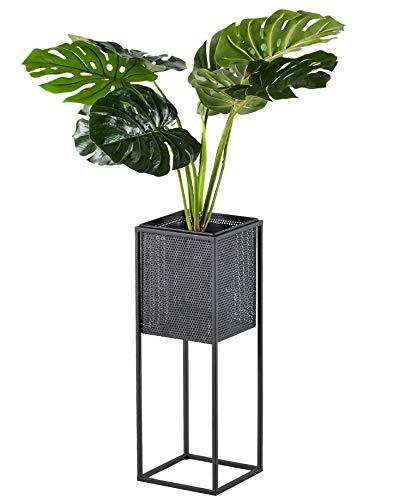 Soporte para macetas, de metal, color negro, de tamaño pequeño a alto, para estante de mesa o suelo, diseño moderno en niveles para exhibir flores y otras plantas de interior y patio.