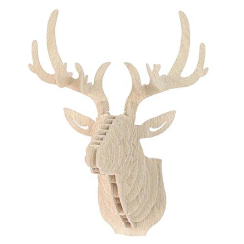Magideal 3d madera DIY Modelo colgante Animal Wildlife de pared cabeza de ciervo Escultura Decoración