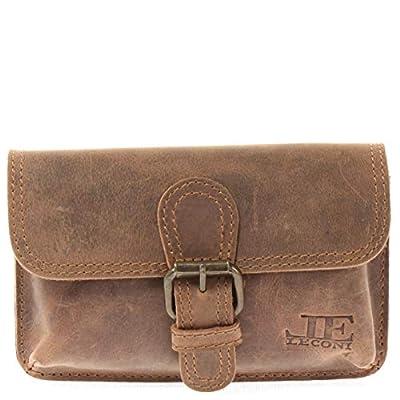 LECONI Sacoche ceinture Look Vintage Sac banane pratique pour Dames + Hommes Style rétro Femmes Petit sac pour les hanches Cuir de buffle 18x10x6cm vintage LE9020-vin