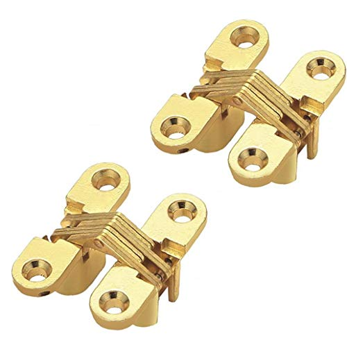 2 Piezas Invisible Oculto Puerta Plegable De Bisagra Cruz Teniendo Bisagras Oro Escondido