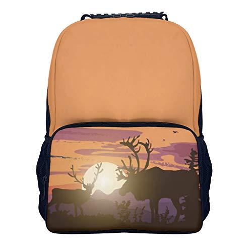 deer deer deer blackblack Students' Backpacks Elementary All Over Print for Student deer white onesize