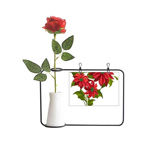 Beauty Gift Christmas Flower Poinsettia Bouquet Red Artificial Rose Flower Hanging Vases Decoration Bottle