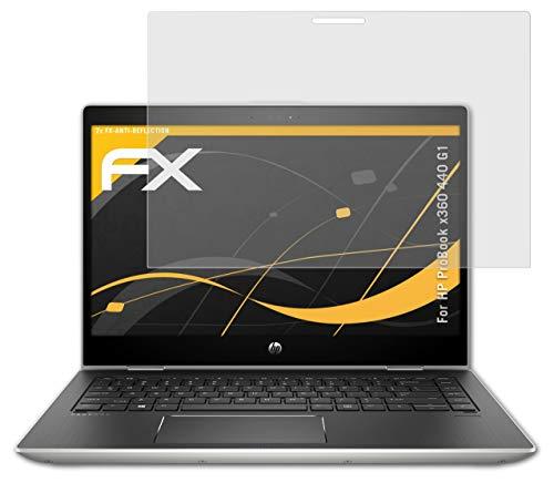 atFolix Panzerfolie kompatibel mit HP ProBook x360 440 G1 Schutzfolie, entspiegelnde & stoßdämpfende FX Folie (2X)