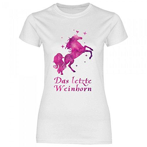 Royal Shirt a58 Damen T-Shirt Das letzte Weinhorn | Wein Einhorn Party Disko Funshirt Alkohol Girly, Größe:L, Farbe:White