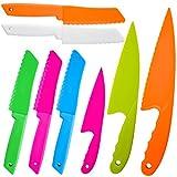 QUACOWW Juego de 8 cuchillos de cocina de nailon para niños, para frutas, pan, pasteles, ensaladas