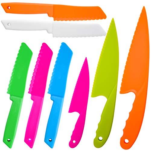 QUACOWW Messer für Kinder 8-teiliges Nylon-Küchenbackmesserset, Kochmesser für Kinder für Obst, Brot, Kuchen, Salat