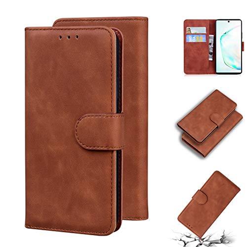 TTUDR Galaxy Note 10 Premium Leder Flip Schutzhülle [Standfunktion] [Kartenfächer] [Magnetverschluss] lederhülle klapphülle für Samsung Galaxy Note10 - TTTX010269 Braun