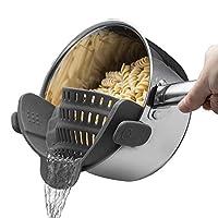 こし器 シリコーンザルにキッチンひずみストレーナークリップはすべてのポットボウルキッチンアクセサリーに適合します 調理器具 (Color : Black)