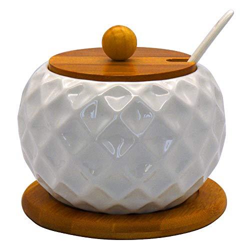 Vencer Ceramic Sugar Bowl with Serving Spoon and Bamboo Lid, Bamboo Base, 17.6 oz, Diamond Shape, Sugar Dispenser - Modern Design