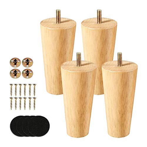 4 inch Heavy Duty Solid 4 Pack Wooden Furniture Legs,Sofa Legs Replacement Furniture Feet with Threaded Mounting Plate & Screws & Anti-Slip Mats for Sofa Table Couch Cabinet Ottoman