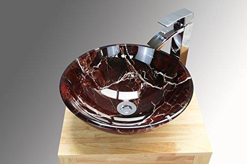 Home Supplies Lavabo da appoggio in vetro effetto marmo, per bagno e toilette, colore: bordeaux