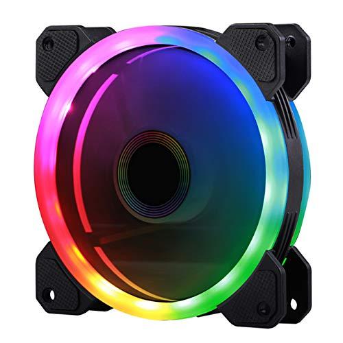 Gegong Dualhalos Ventilador para Caja de computadora Ventilador silencioso LED RGB para Cajas de computadora Ventilador de Caja Colorida Refrigeradores de CPU