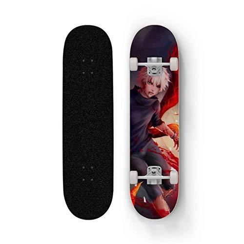 FWTL Skateboard for Tokyo Ghoul: Kaneki Ken, Maple Deck 31-inch Double Kick Skateboard, Four-Wheel Double Rocker, Professional Short Board, Road Skateboard, The Best