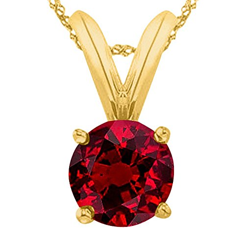 Houston Diamond District 1 1/2 1.5 Carat 14K Yellow Gold Round Ruby 4 Prong Solitaire Pendant Necklace (AAA Quality) W/ 16' Silver Chain