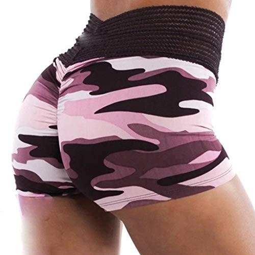 ZOOMY Shorts d'entraînement de Camouflage pour Femmes Rayures en Tricot Taille Haute Butt Lift Yoga Hot Pants - 2XL # Rose