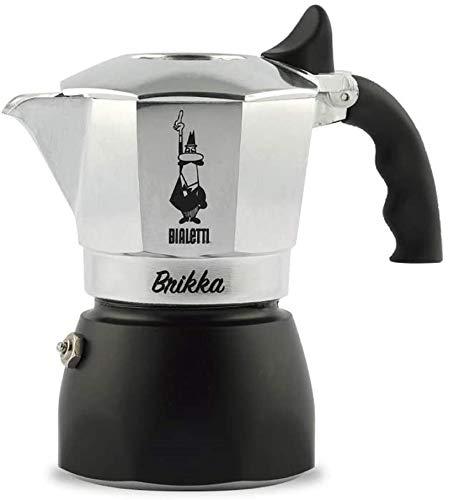 Bialetti Brikka Caffettiera in Alluminio per caffè con Doppia Crema, 2 Tazze, 80 ml, Argento, nuova versione
