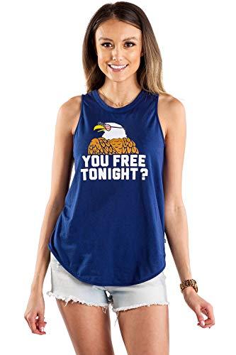 Tipsy Elves Patriotic Women's Tank Top You 'Free' Tonight? Size M Navy Blue