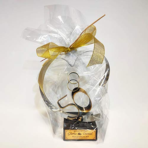 CADENAS Trofeos Regalo para Bodas de Oro Grabado, Figura Corazón, 50 Aniversario, Regalo Personalizado
