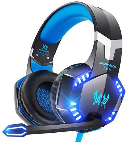 Cuffie Gaming PS4,Cuffie Gaming con Microfono e Bass stereo Cuffie da Gioco con 3.5mm Jack LED e Controllo Volume Cuffie da Gioco per PS4 Xbox One PC MAC