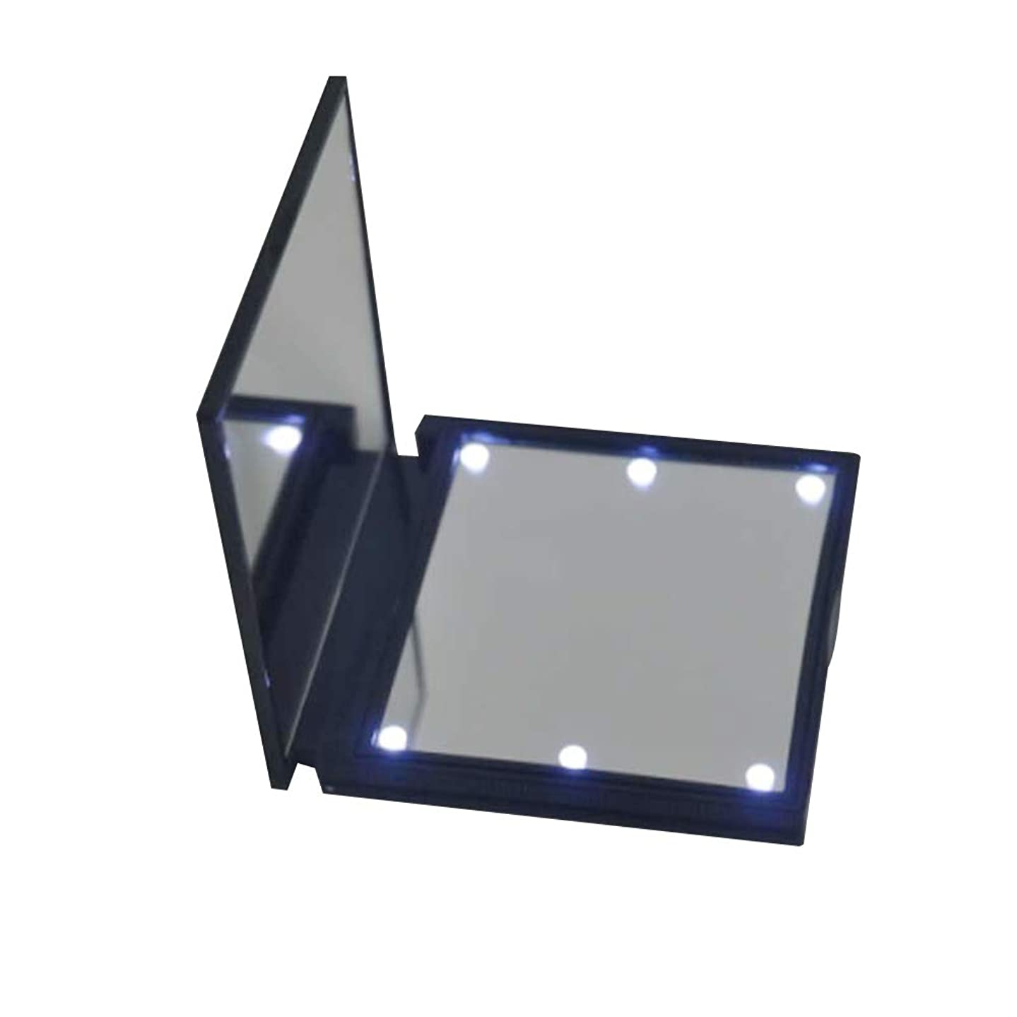 Mirror gLoaSublim Mini Portable Foldable 180 Degree Rotating Makeup Cosmetic Mirror with LED Light - Black