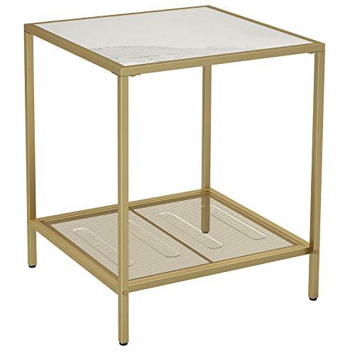 VASAGLE Beistelltisch, Couchtisch mit 2 Ebenen, aus Hartglas, stabil, mit Metallgestell, Gitterablage, für Wohnzimmer, Schlafzimmer,Gold-MarmoroptikLGT030W01