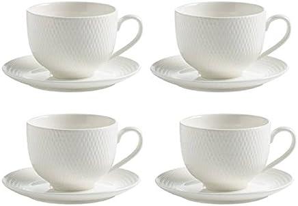 Preisvergleich für Maxwell & Williams 4er Set Tassen mit Untertasse Diamonds Round H. 7,5cm weiß