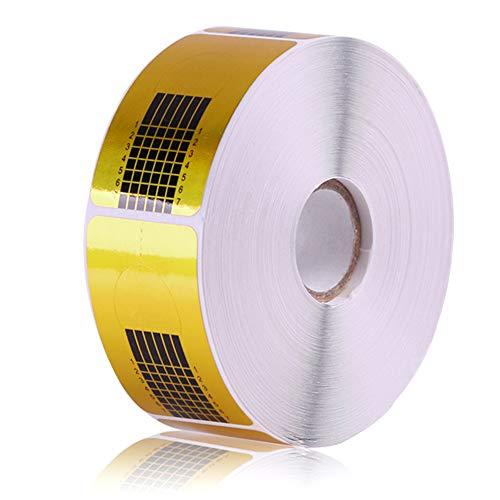 500 Stück Nagelschablonen für Gel-Nägel Verlängerung, Selbstklebende Golden Schablonen Modellier-Schablone für UV Kunst Nagel-Modellage