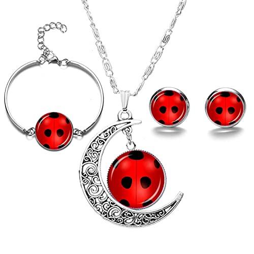 YZYZ Comic Seven Star Ladybug Girl Time Gem Luna Collar Conjunto Pendiente Pulsera Joyería