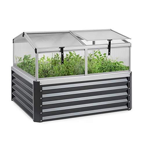 blumfeldt High Grow Advanced - Hochbeet mit Dach Gartenbeet Mini-Gewächshaus Frühbeet, Größe: 120 x 95 x 100 cm (LxHxT), Volumen: 540 l, Material Hochbeet: Stahlblech, verzinkt, anthrazit