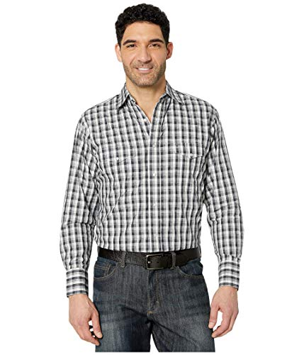 Photo of Wrangler Silver Edition Long Sleeve Plaid Snap Black/Grey SM