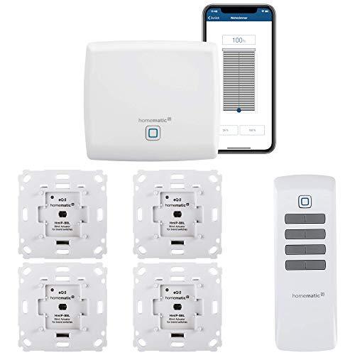 Homematic IP Funk Jalousiesteuerung mit Fernbedienung und gratis App zur Automatisierung der Jalousien. Smart Home zum Nachrüsten - Zentrale, 4 Jalousieaktoren, 1 Fernbedienung und Adapter.