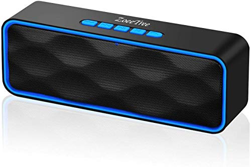 ZoeeTree S1 Bluetooth Lautsprecher, Wireless V5.0 Bluetooth Speaker mit Dual-Treiber Bass & FM Radio, 8h Spielzeit, Freisprechfunktion, AUX/ TF/ USB, Tragbarer Musikbox for iPhone Android PC