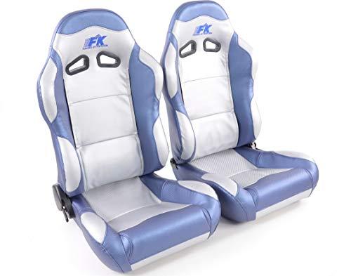 Juego de asientos ergonómicos de piel sintética de carbono gris/azul