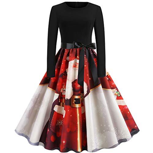 Auiyut Damen Weihnachtskleider Frauen Elegant Vintage Kleider Party Cocktailkleid Karneval Kostüm Rudolf Weihnachtsmann Abend Party Club Swing Kleid Langarm Oansatz Kleid Midi Kleid