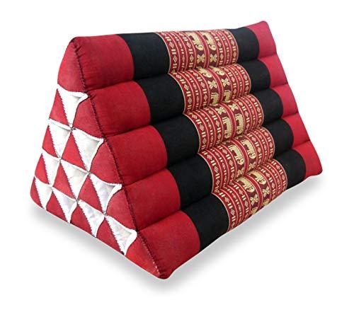 livasia Großes Dreieckskissen als Rückenstützkissen, Thaikissen BZW. Keilkissen, Nackenkissen fürs Bett (rot/Elefanten)