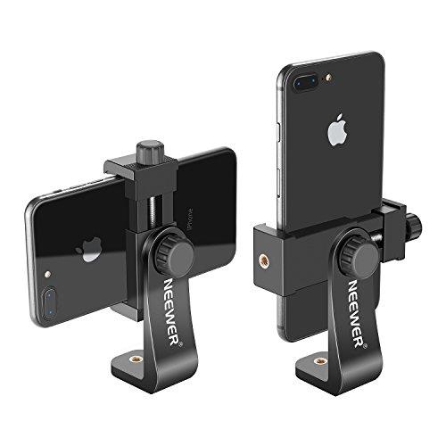 Neewer Smartphone Halter Vertikale Halterung mit 14 Zoll Stativhalterung C Handy Klemme Stativadapter fur iPhone Samsung und andere Handys innerhalb von 19 39 Zoll schwarz