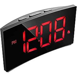 PICTEK Digital Alarm Clock, 5 Curved Dimmable LED Screen, Digital Clock for Kid Senior, Ultra-Clear White Large Number, 6 Brightness, Snooze, 12/24H, Alarm Clock for Bedroom Office (NO Adapter)