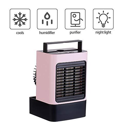 Kacsoo Enfriador de Aire Personal Ventilador portátil de Gran Capacidad de 600 ml con batería Adecuada para el Aire Acondicionado de Oficina Cuatro en uno de Interior y Exterior de la Oficina (Rosa)