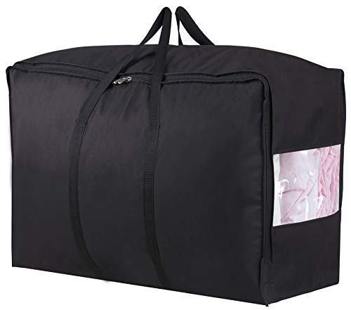 MISSLO Water Resistant Thick Over Size Storage Bag, Folding Organizer Bag, Under Bed Storage, College Carrying Bag for Bedding Comforters, Blanket, Clothes (Black)