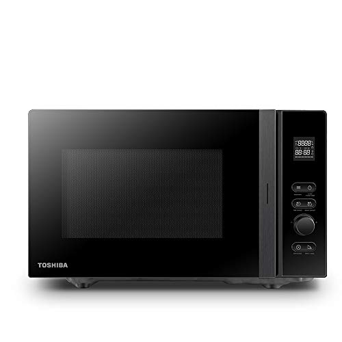 Toshiba MV-AM20T(BK) Mikrowelle/Solo-Mikrowelle/ 20 L/ 800 W/ 5 Leistungsstufen/ 12 Automatikprogramme/Emaille Innenraum/einfach zu reinigen/Auftaufunktion/Glasdrehteller (24,5 cm) / schwarz