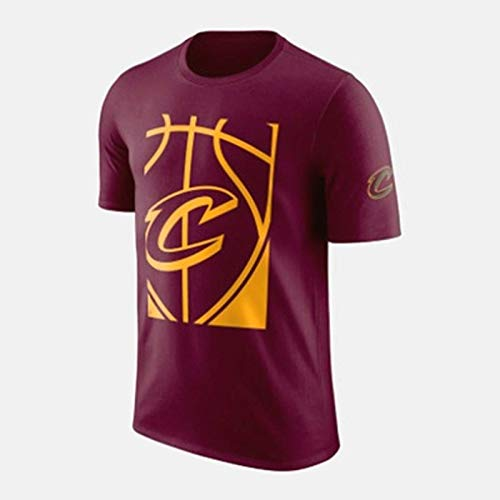 Zxwzzz NBA Lakers Knight Spurs Guerreros Rocket Trueno Algodón Grande del Estándar De Baloncesto De Manga Corta Deportes Camiseta Adolescente Media Manga (Color : Deep Red, Size : Large)