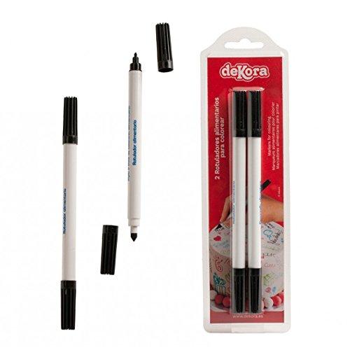 les colis noirs lcn Feutres Alimentaires Double Pointe Noir - Décoration Gateau Stylo Crayon - 906