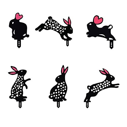 KTMART 6 Piezas Conejo Arte jardín Estatua de acrílico decoración Decorativa estaca de jardín Ahueca hacia Fuera la decoración de la Forma de Animal