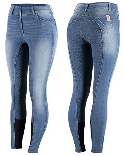 netproshop Damen Jeans Reithose Kaia High Waist m. Silikon-Vollbesatz u. Stickerei Gr.34 und 44, Damengroesse:44, Farbe:Jeansblau
