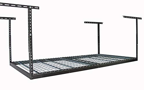 MonsterRax 4x8 Overhead Rack - 500 LB Capacity Adjustable Ceiling Mounted Rack (Hammertone, 24'-45')