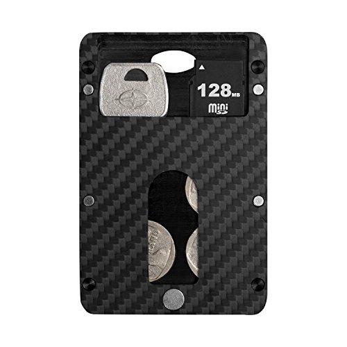 Cartera de Tarjeta de credito, PITAKA [MagWallet UE] Minimalista de Carbono magnético RFID Titular de la Tarjeta Modular magnética Bloqueo de la Billetera Delgada futurista - Capa de la Caja