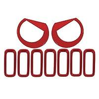 Ziyi New9PCSフロントグリルインサートヘッドライトカバーキットフィットJEEP Renegade 2015-2018 (Color Name : Red)